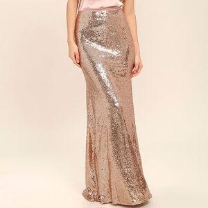 Lulus evening gold sequin maxi skirt